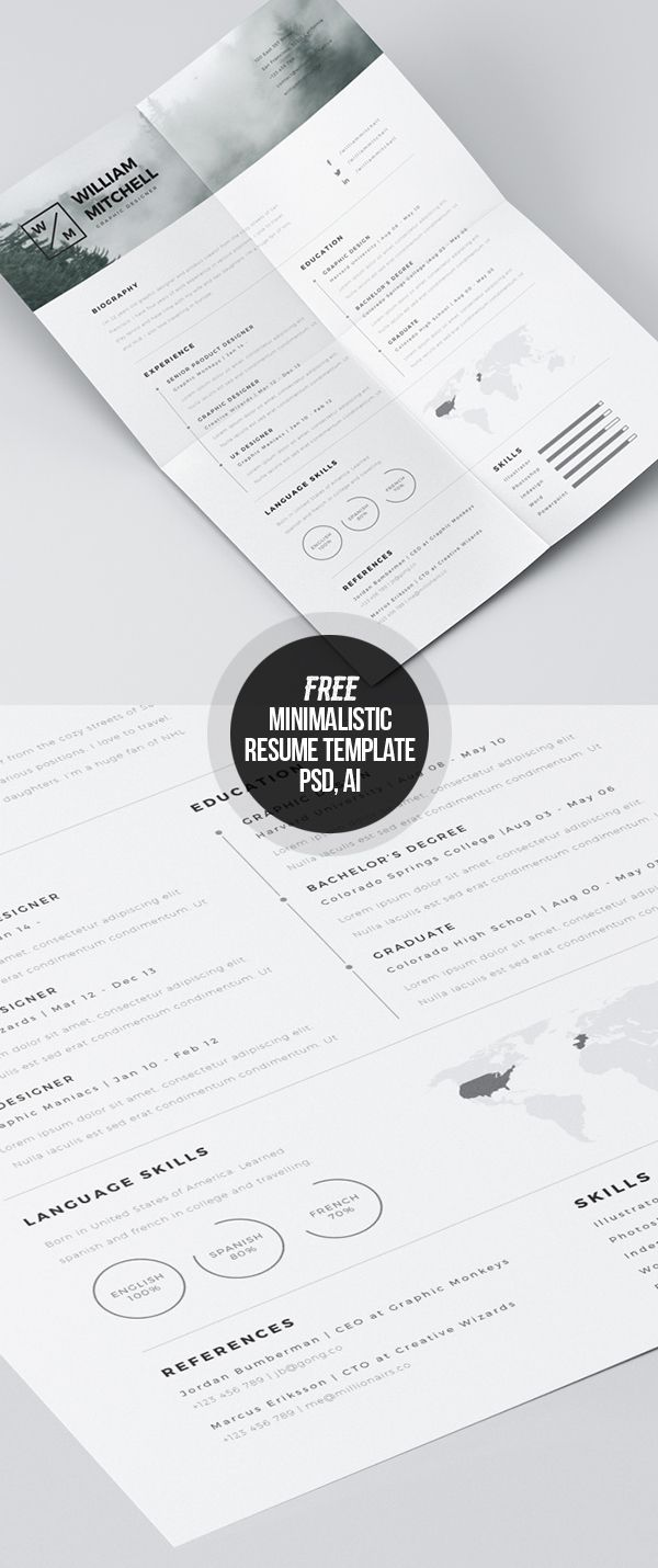 Free Minimalistic CV/Resume Templates With Cover Letter Template   Design    Graphic Design Junction