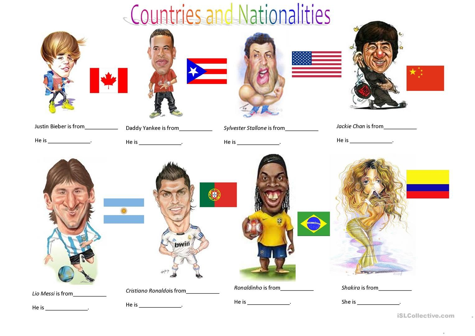 Countries And Nationalities I Worksheet