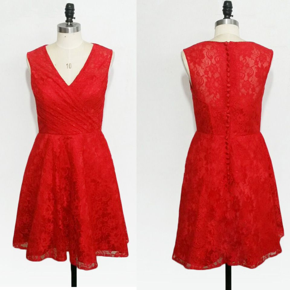 Charming short red bridesmaid dresses beautiful short lace