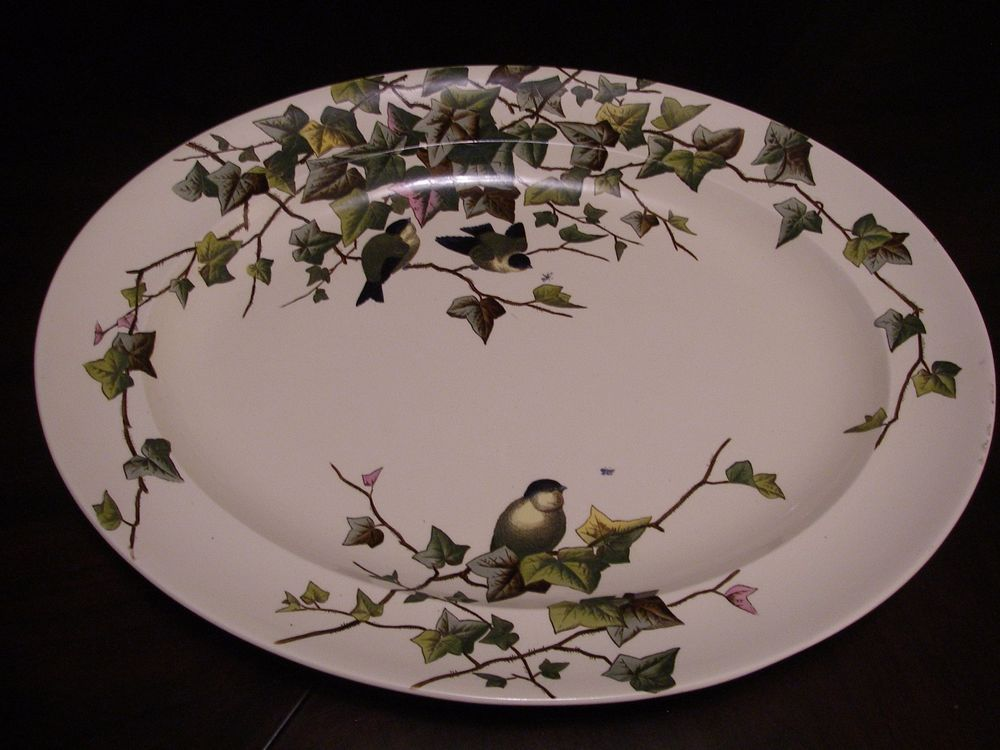Rare George Jones And Sons Ivy Bower Transferware Large Oval Platter 1881 Oval Platter Transferware Platters