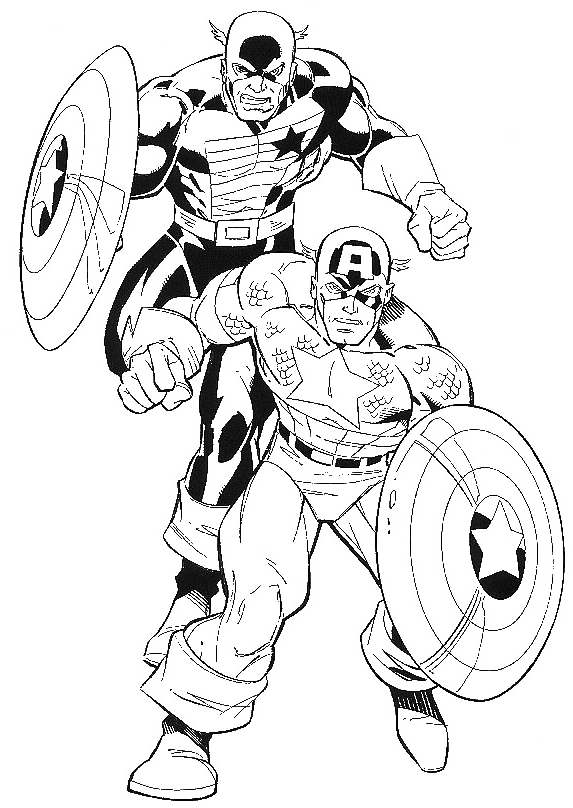 Two Captain America Daredevil Coloring Pages - Captain ...