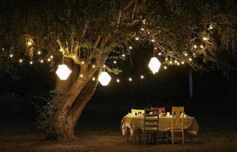 Fabulous String Lighting For Casual Garden Ideas With White Table
