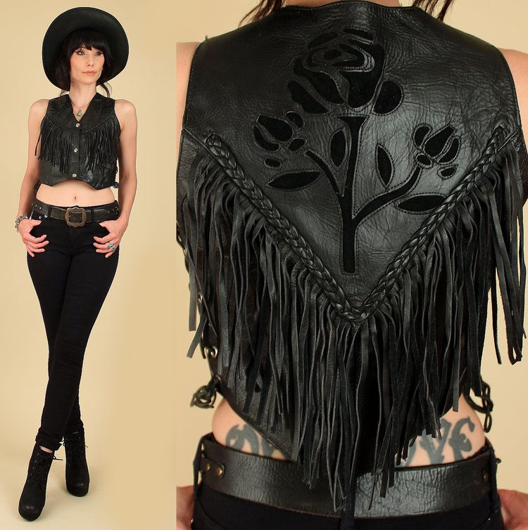 Vintage 80s Black Leather Fringe Vest / Motorcycle Biker Rocker Vest 8iOojZePkK