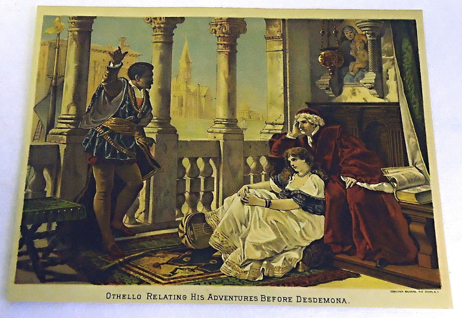 1882 Color Magazine Engraving Othello Relating His Adventures Before Desdemona Not A Photocopy Or More Recent Reproduction 33 00 Painting Art Engraving