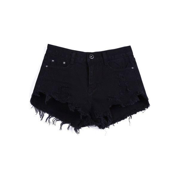 black denim shorts ripped