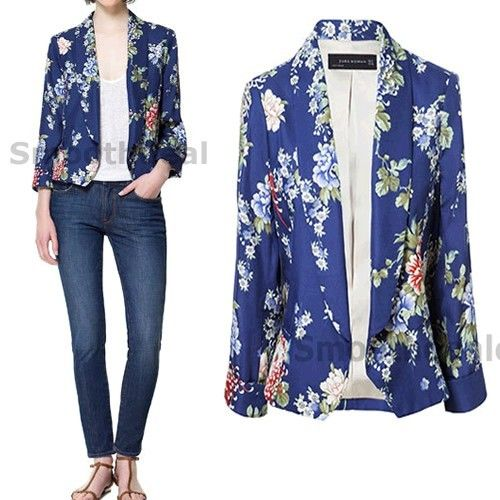 NEW European Fashion Ladies Lapel Collar Floral Print Blouse Long Sleeve Blazer | eBay