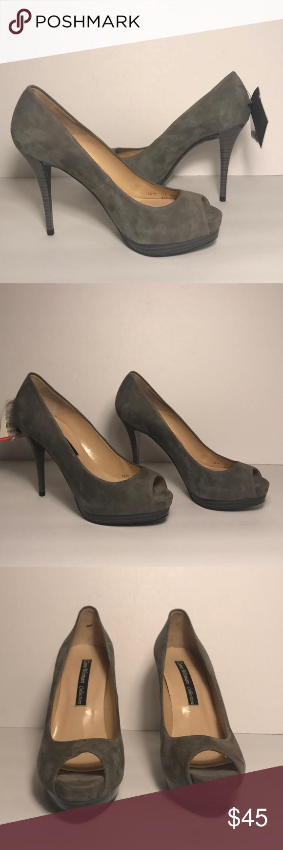 3104026f710 ZARA Grey Suede Platform Peep Toe Heels Gorgeous grey suede open toe  platform pumps.