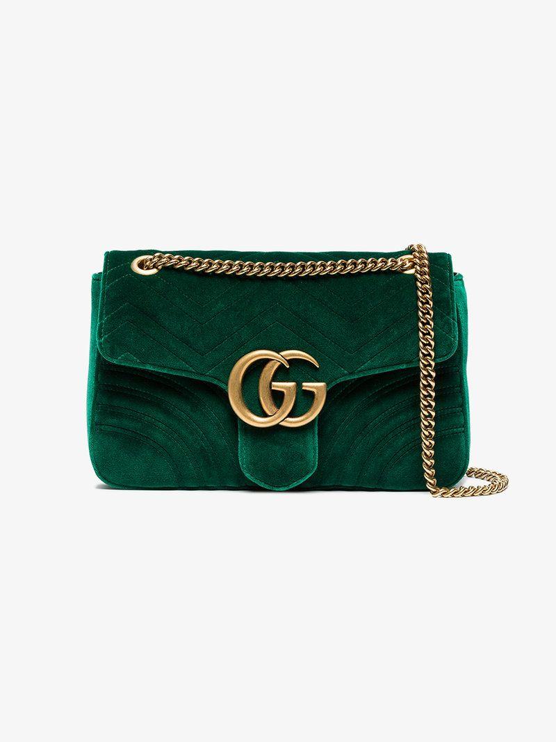 9a9b274d973 Gucci green Marmont velvet shoulder bag