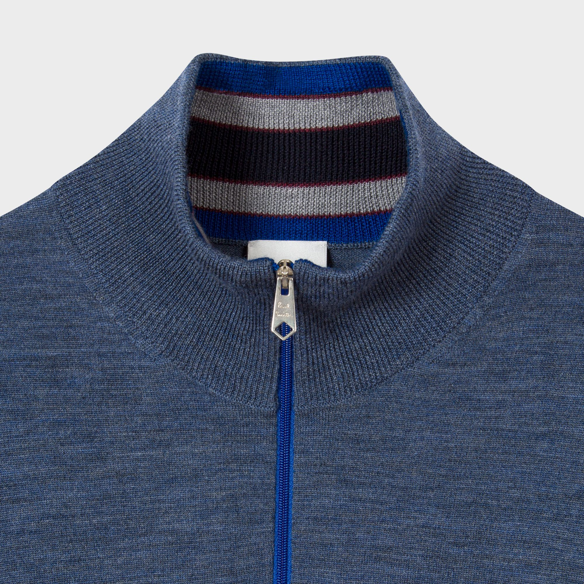 d87cf0e460a31c Paul Smith | Men's Blue-Marl Merino Wool Funnel Neck Sweater | The ...
