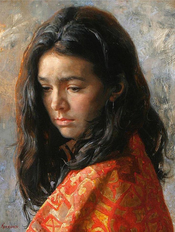 Artist: Arsen Kurbanov (b. 1969), oil on canvas {figurative beautiful female head woman face painting}