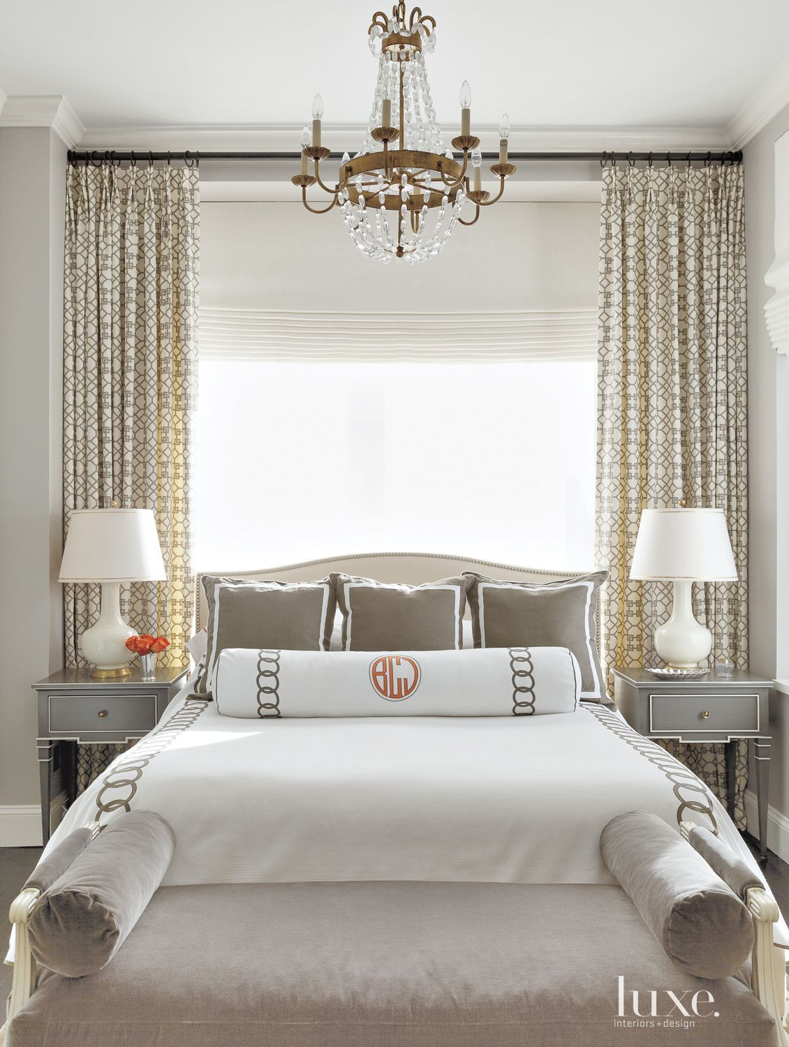 Eclectic Neutral Bedroom with Gray Bedside Tables