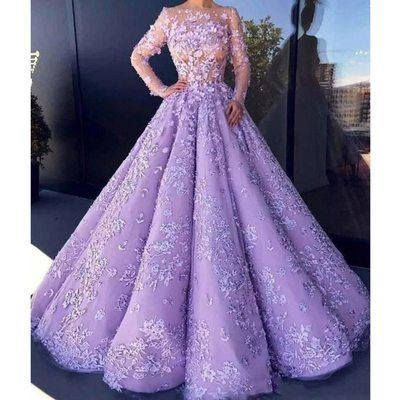 lavender semi sheer floral embroidery long sleeved floor length ball gown from MILLENIUM - Purple prom dress long, Prom dresses long with sleeves, Prom dresses with sleeves, Purple prom dress, Prom dresses lace, Ball dresses - Gorgeous luxury evening gowns for not quite couture prices!  Made to order, creation and processing can take up to 10 business days! Once shipped, your dress will be to you within 10 business days!  Please see the last image for all measurements, and order accordingly!