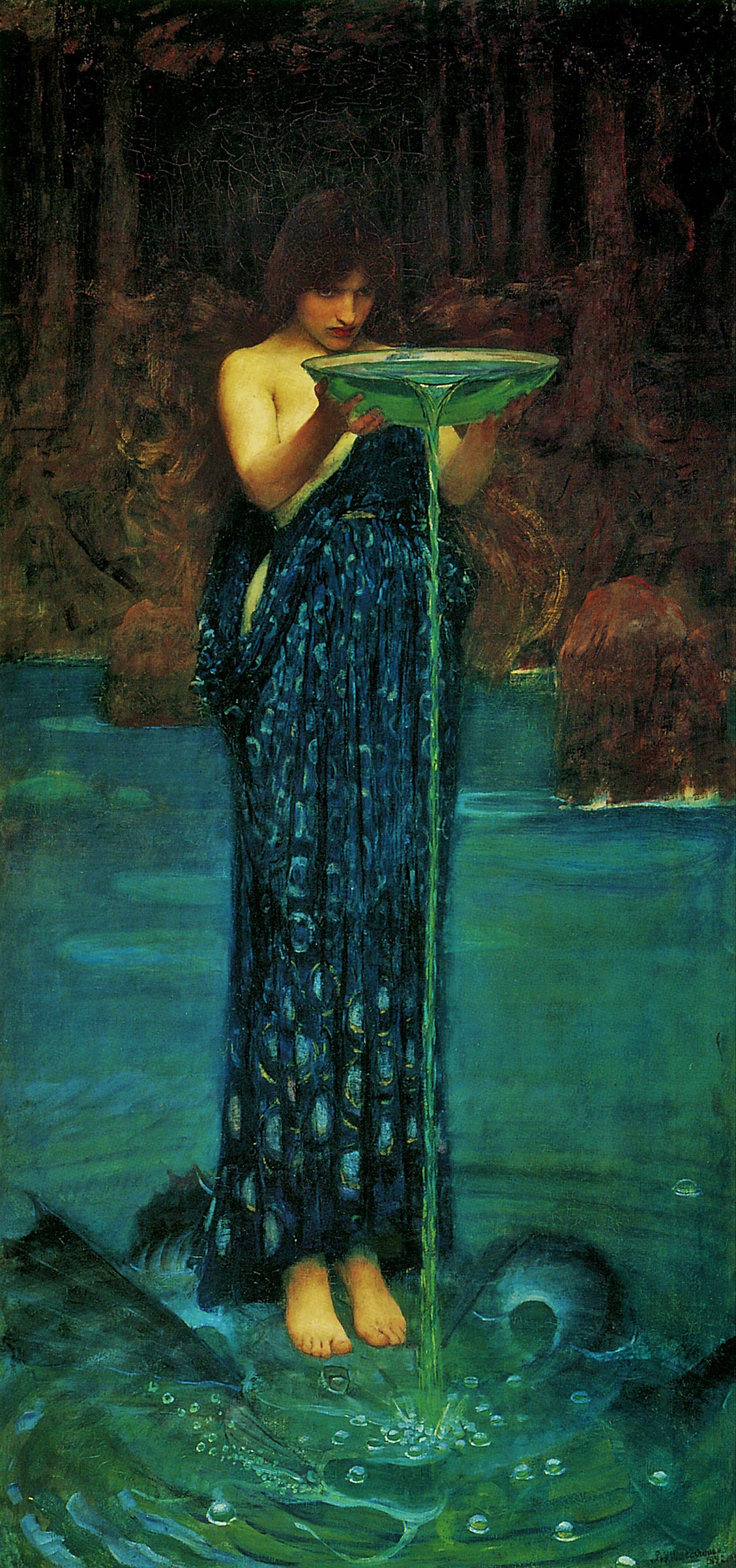JOHN WILLIAM WATERHOUSE Pre-Raphaelite Poster 1892 Circe Invidiosa