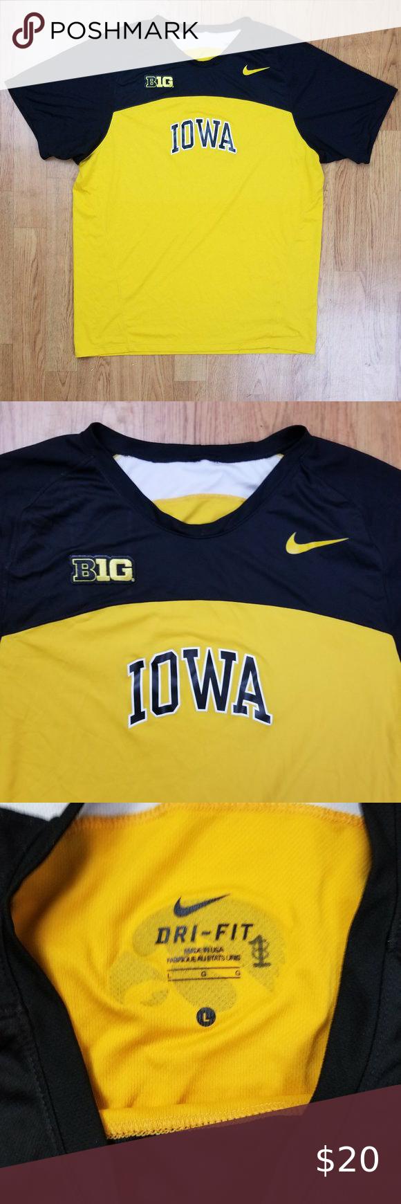 Iowa Hawkeyes Big 10 Nike Dri Fit Top Shirt Jersey Workout Tops Long Sleeve Tshirt Men Nike Shirts [ 1740 x 580 Pixel ]
