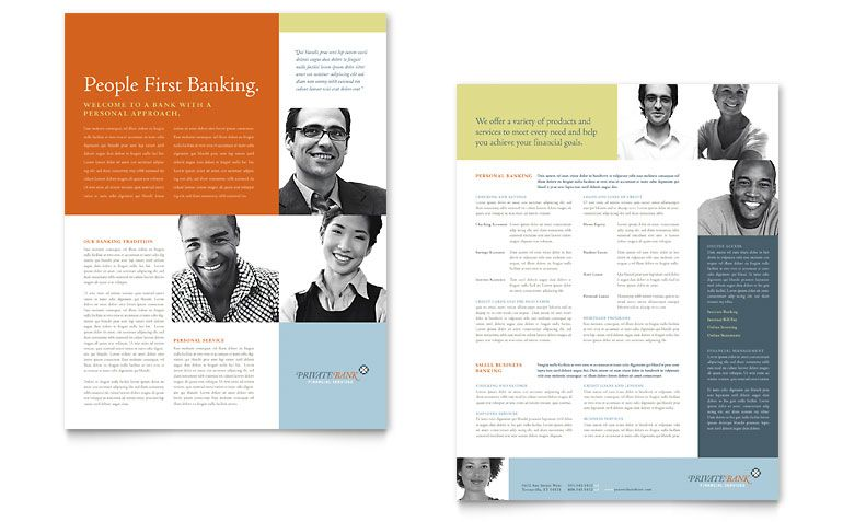 Private Bank Datasheet Word Publisher Template Print Design