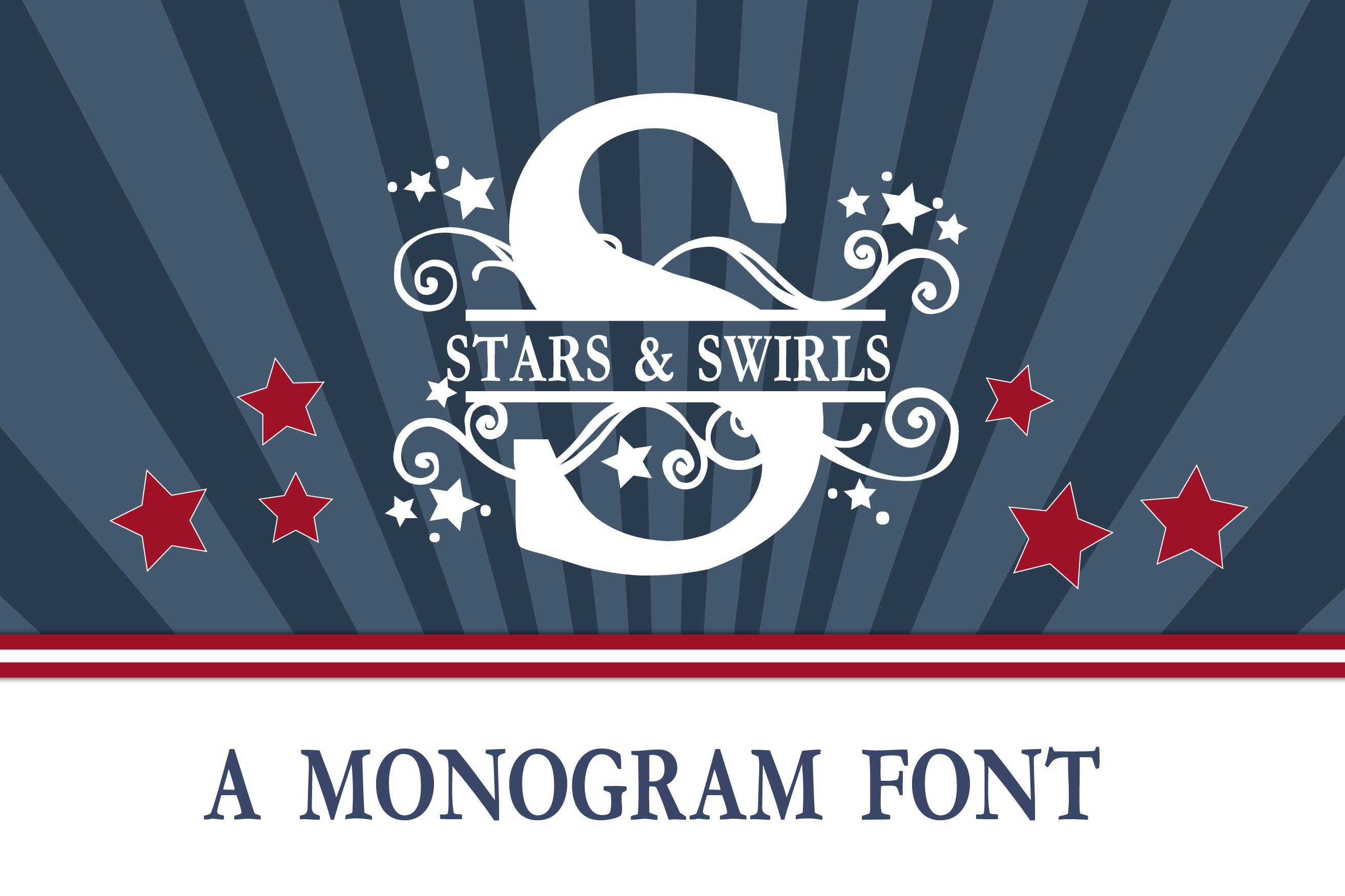 Pn Stars Amp Swirls Monogram Banner Font Monogram Fonts