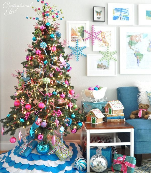 Aqua Christmas Tree Skirt: Candy Colored Christmas Tree