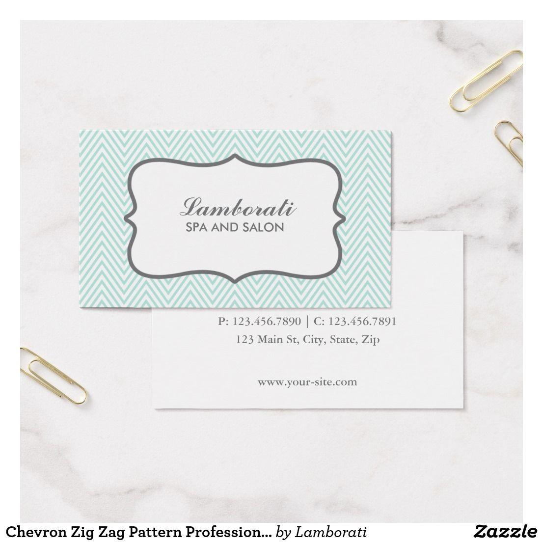 Chevron Zig Zag Pattern Professional Makeup Artist Business Card