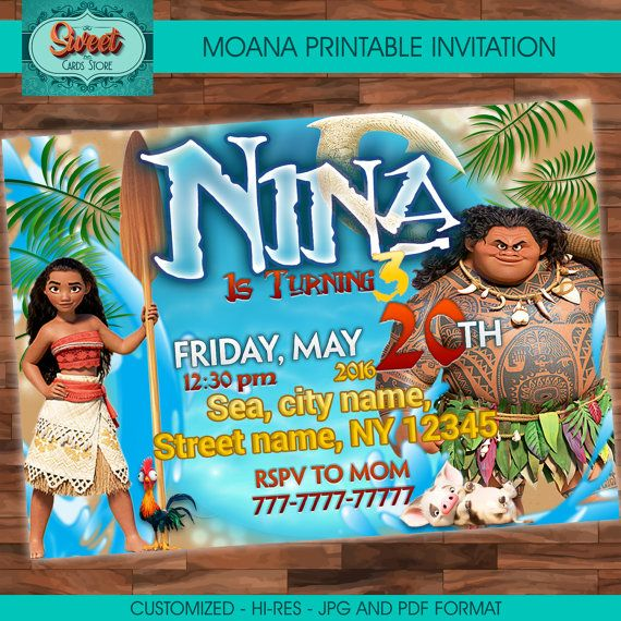 Moana Personalized Digital Invitation Party Birthday