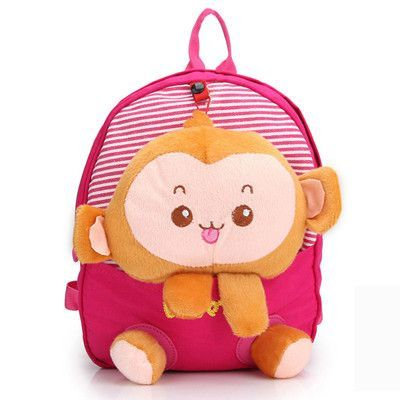 Cotton Boys Girls Babies Kindergarten School Bag Toddler Children Animal Backpack With Detachable Cartoon Monkey Rabbit Doll