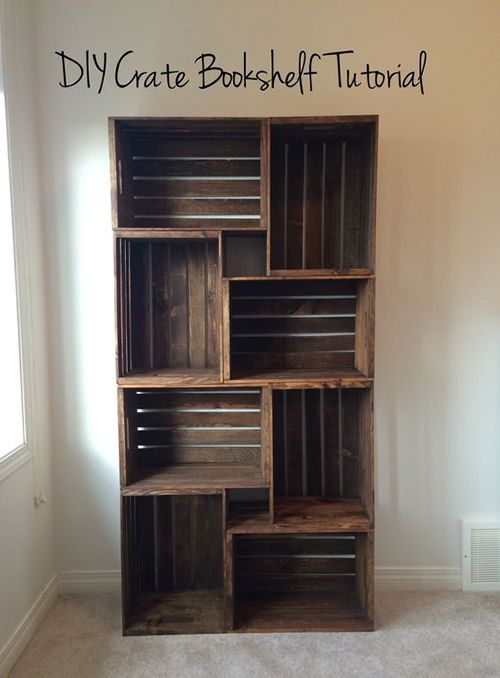 DIY Wooden Crate Bookshelf -  DIY Wooden Crate Bookshelf – a great way to upcycle these crates… #upcycle #repurpose #homestea - #Bookshelf #Crate #DIY #diymuebles #firsttattooideas #girltattooideas #ringfingertattoo #wooden