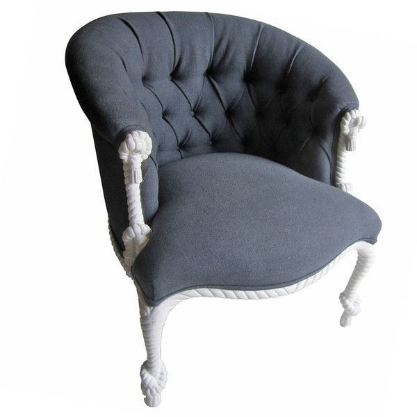 For Sale On   Beautiful Rope And Tassel Chair Painted Matte White And Newly  Upholstered In Navy Linen With A Tufted Back.