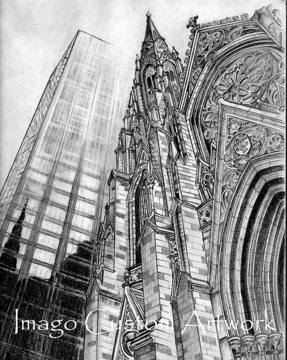 Architecture Drawing Pencil fine art print | charcoal drawing | pencil drawing | black and
