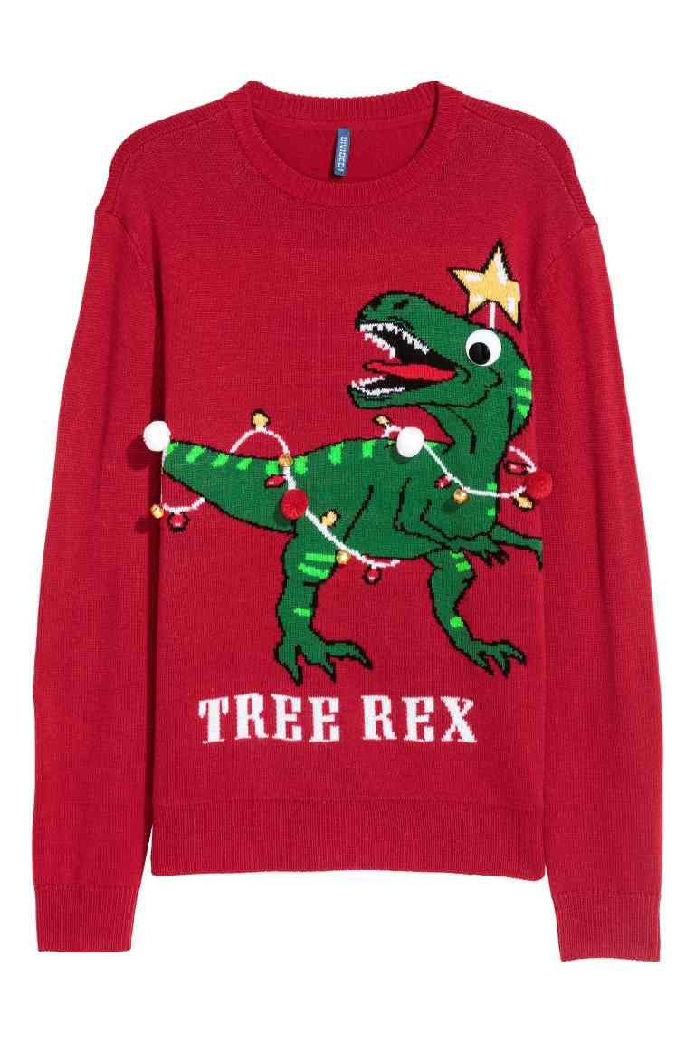 Uniseks Kersttrui.Jacquardgebreide Kersttrui Rood Heren H M Nl Ugly Sweater