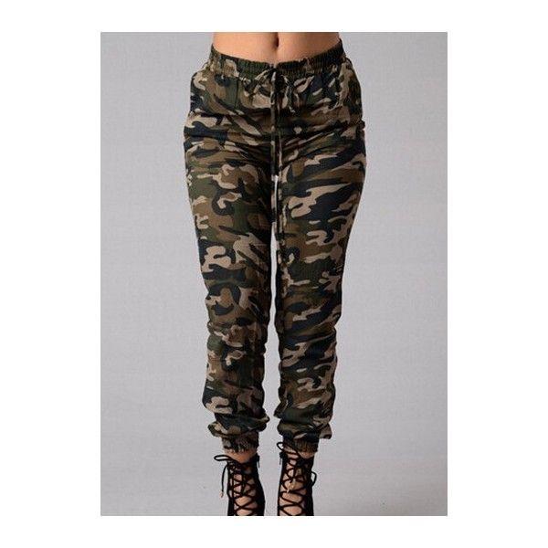 7e77b4aab32 Rotita Womens Camo Joggers Army Pants Military Pants Camo Combat Pants  ( 24) ❤ liked on Polyvore featuring pants