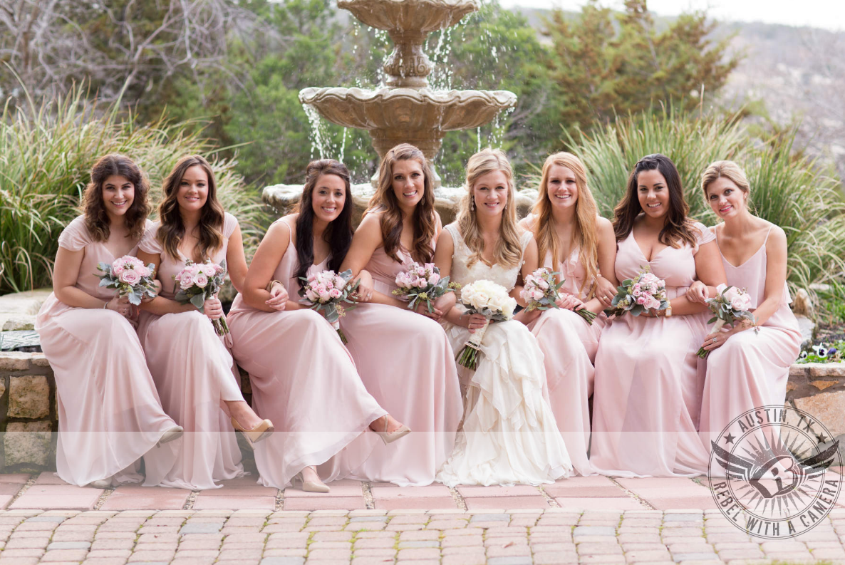 Bridesmaids in joanna august dresses such a gorgeous blush pink for