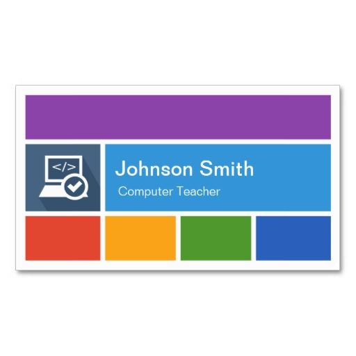 Computer Teacher  Creative Modern Metro Style Business Card