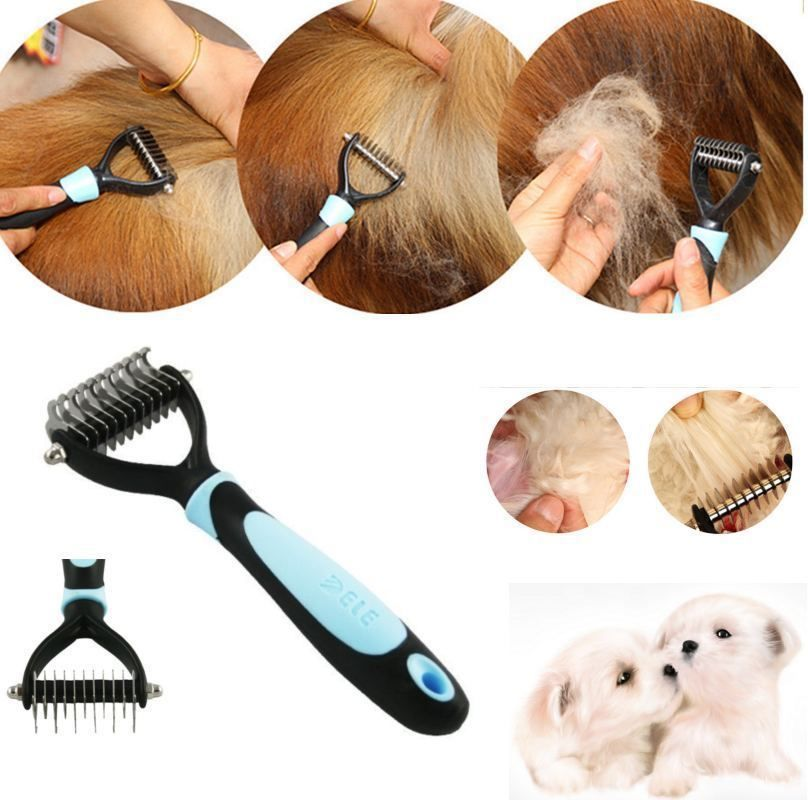 Magicfly Pet Dog Double Teeth Comb Dematting Rake Tool For Cat Undercoat Remove Grooming Brush
