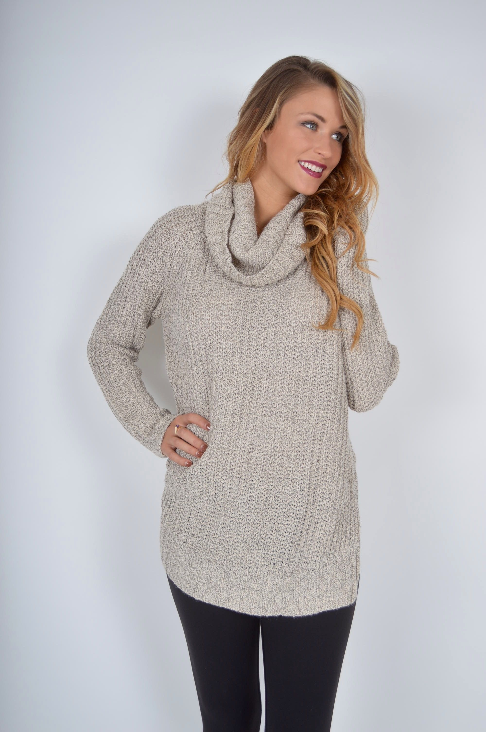 Cream Em Sweater | $49 | Foi Clothing | Taupe Knitted Turtle Neck ...