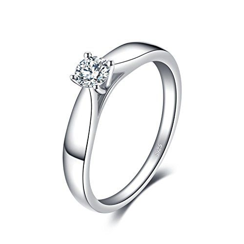 e7b81ff4ea1afb JewelryPalace 0.21ct Magnifique Bague de Fiançailles Femme Alliance Mariage  Anniversaire en Argent Sterling 925 en