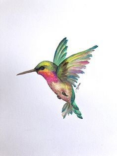 Pintura original de acuarela Hummingbird 11x14 arte hecho a mano