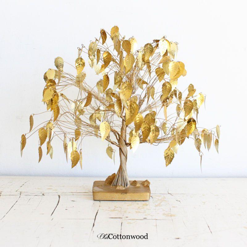 Sculpture: ($39.5) Mid Century Vtg Dream Tree Gold Leaf Tree Curtis ...