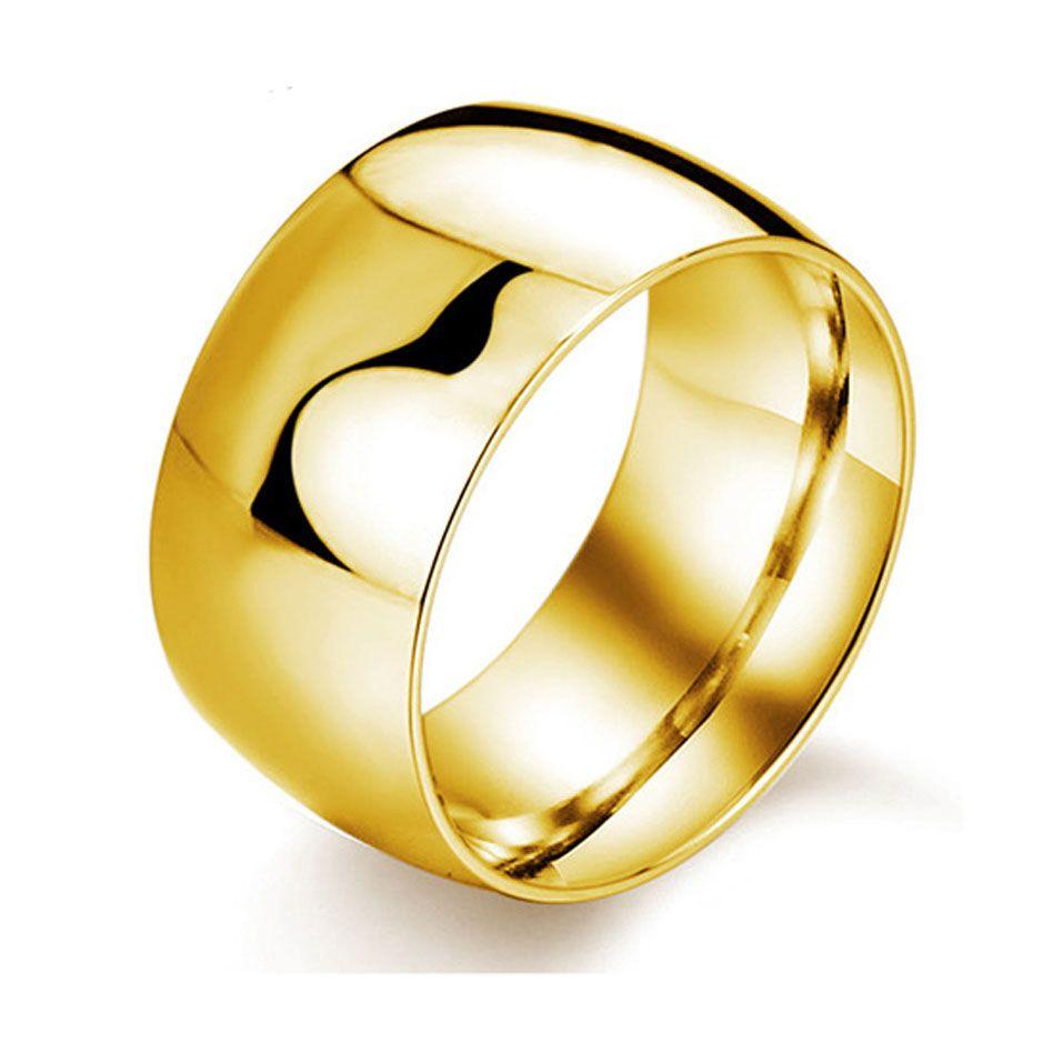 classic titanium stainless steel smooth black rings men