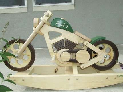 Wooden motorcycle rockers toys rockers and galleries for Woodworking plan for motorcycle rocker toy