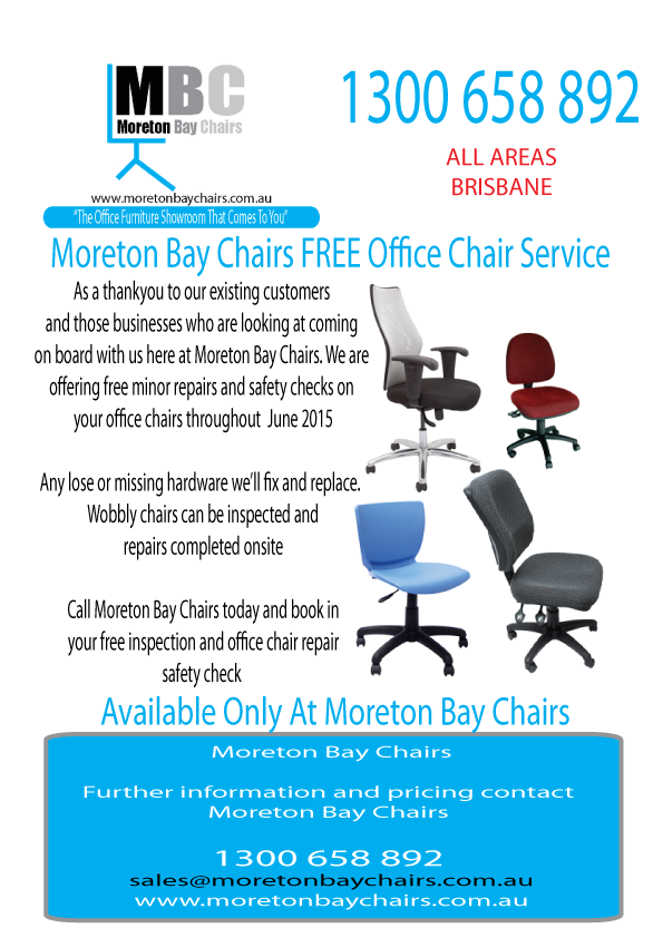 MORETON BAY CHAIRS FREE JUNE OFFICE CHAIR SERVICE AND SAFETY CHECK ...