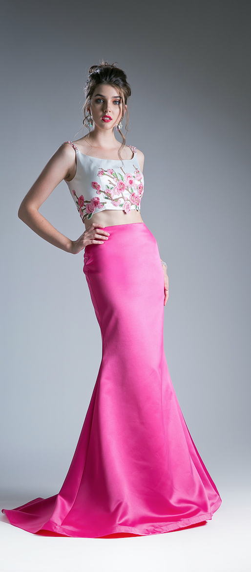 Hot Pink Two Piece Prom Dress | Hot pink, Prom and Mermaid skirt