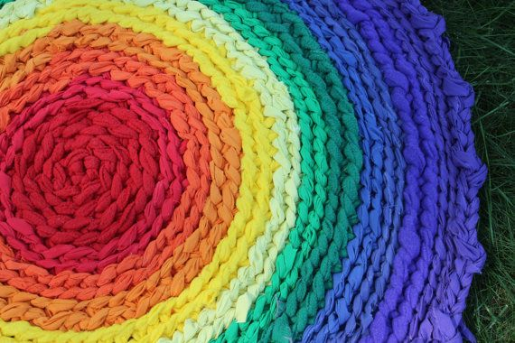 33 Round Rainbow Rag Rug by dreamingdog on Etsy, $50.00
