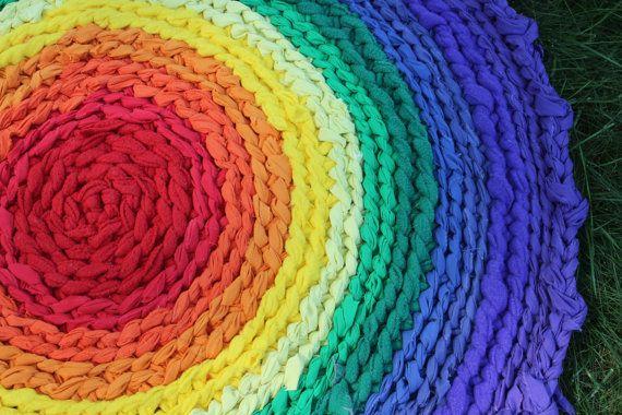 33 Round Rainbow Rag Rug by dreamingdog on Etsy, $50.00