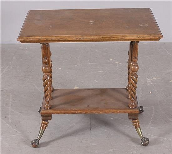 Oak 2 Tier Victorian Side Table With Ball And Claw Feet 30 X 20 X Lot 5204 Antique Table Side Table Table
