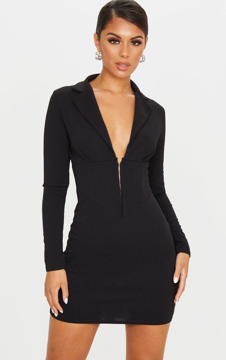 Black Long Sleeve Corset Detail Blazer Dress Corset Style Dresses Blazer Dress Black Long Sleeve [ 1180 x 740 Pixel ]