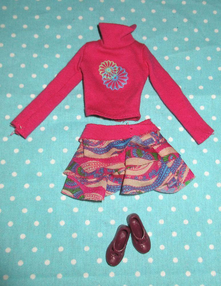 2006 Barbie Fashion Fever Tube clothes shoes set Magenta tan turtleneck