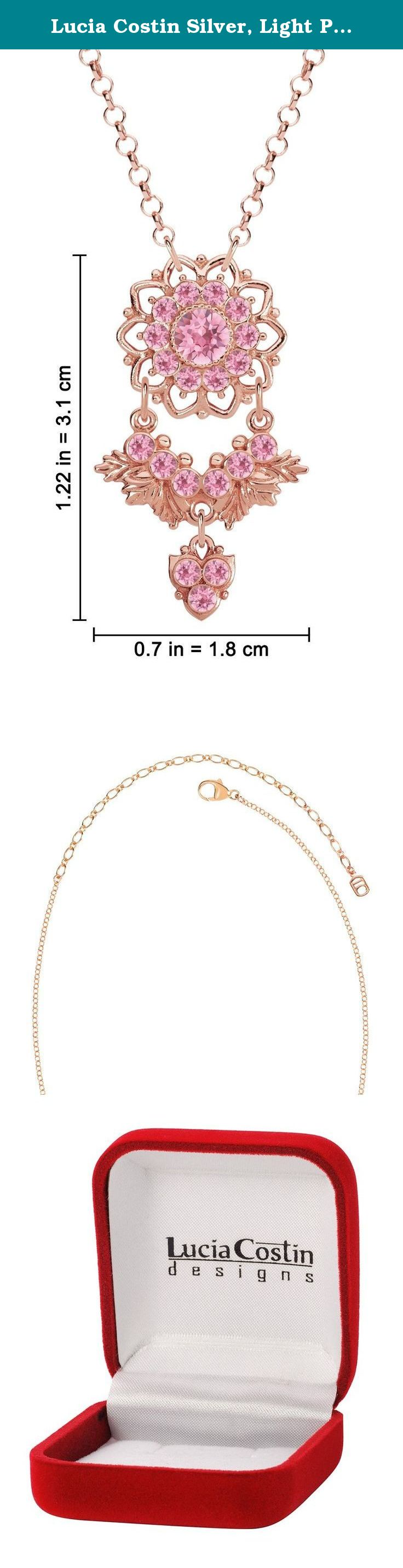 Lucia Costin Silver, Light Pink Swarovski Crystal Pendant, Delicate Enriched. Simple elegance that's always stunning with this flower pendant designed by Lucia Costin. Her jewelry can be mixed and matched by color and style. The designs are very unique and luxurious made with high quality materials and stones. Decorated with light rose Swarovski crystals, this expressive pendant artistically crafted in .925 sterling silver and is available with different plating types. This absolutely...
