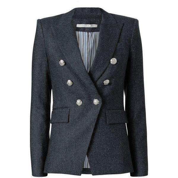 Veronica Beard Miller Herringbone Jacket (765 CAD) ❤ liked on Polyvore featuring blue and veronica beard