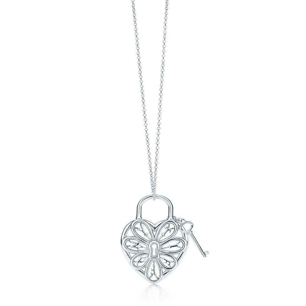 Tiffany Filigree Heart pendant with key in sterling silver, large.  This is Really pretty