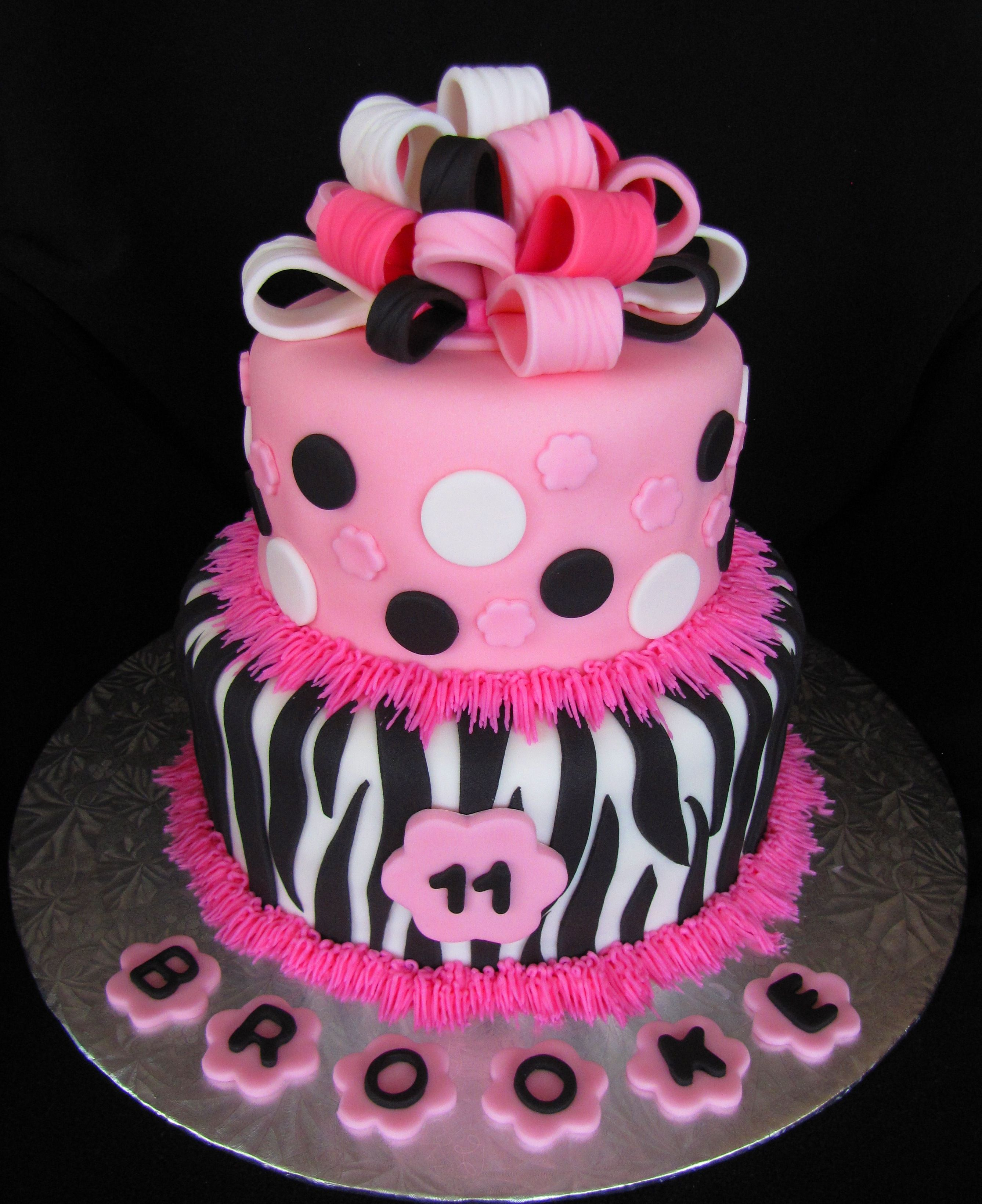 Pink And Black Zebra Cake