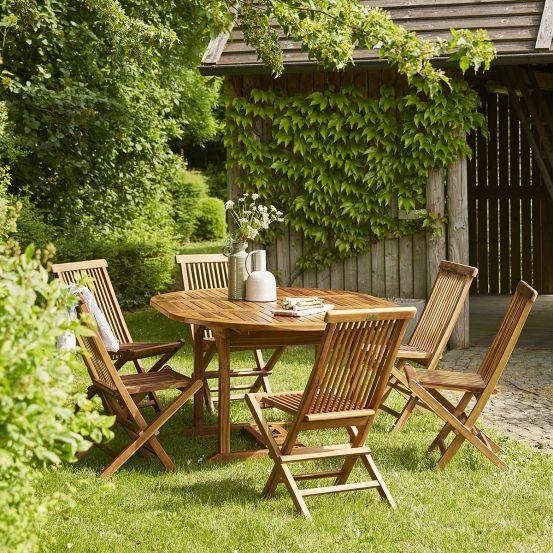 Salon de jardin ovale en bois de teck huilé 6/8 places BALI ...